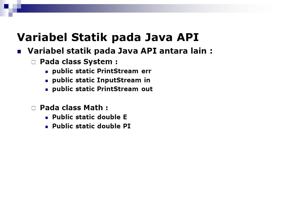 Variabel Statik pada Java API