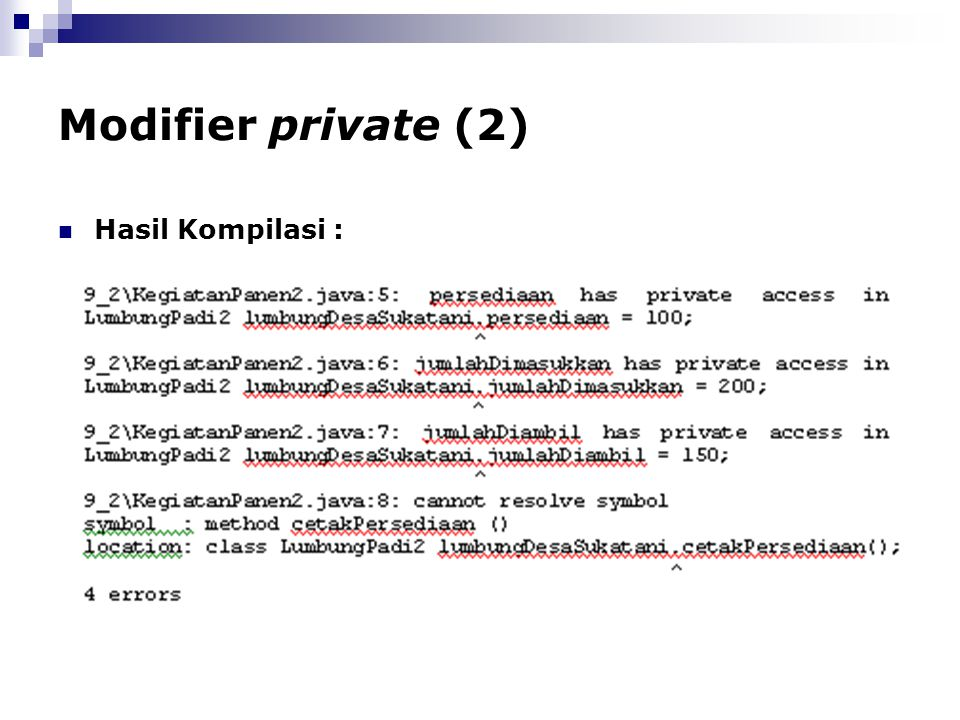 Modifier private (2) Hasil Kompilasi :