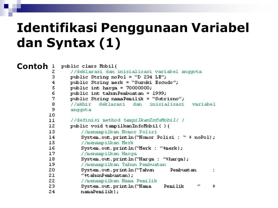 Identifikasi Penggunaan Variabel dan Syntax (1)