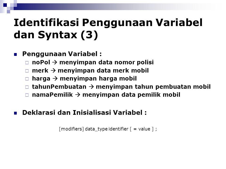 Identifikasi Penggunaan Variabel dan Syntax (3)