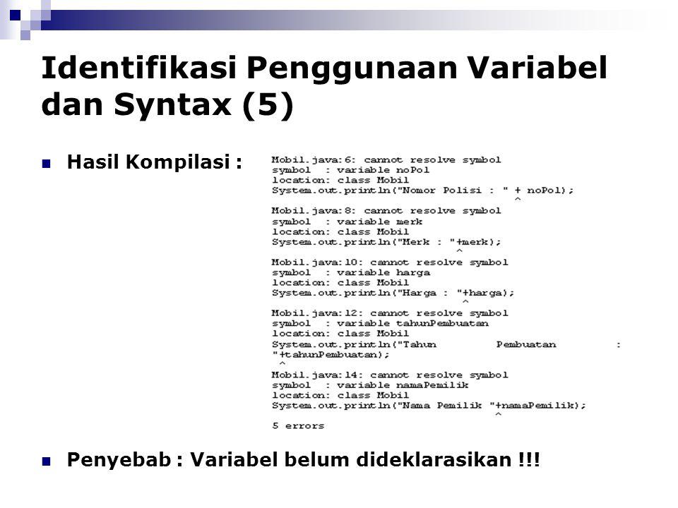 Identifikasi Penggunaan Variabel dan Syntax (5)