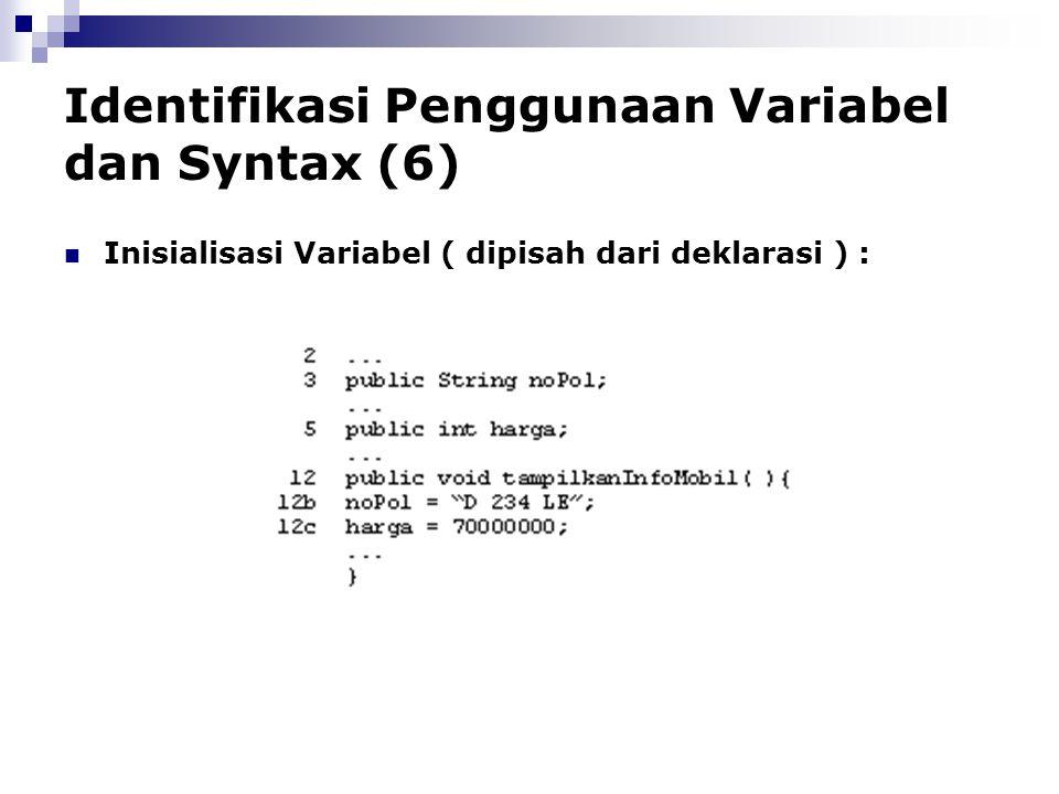 Identifikasi Penggunaan Variabel dan Syntax (6)