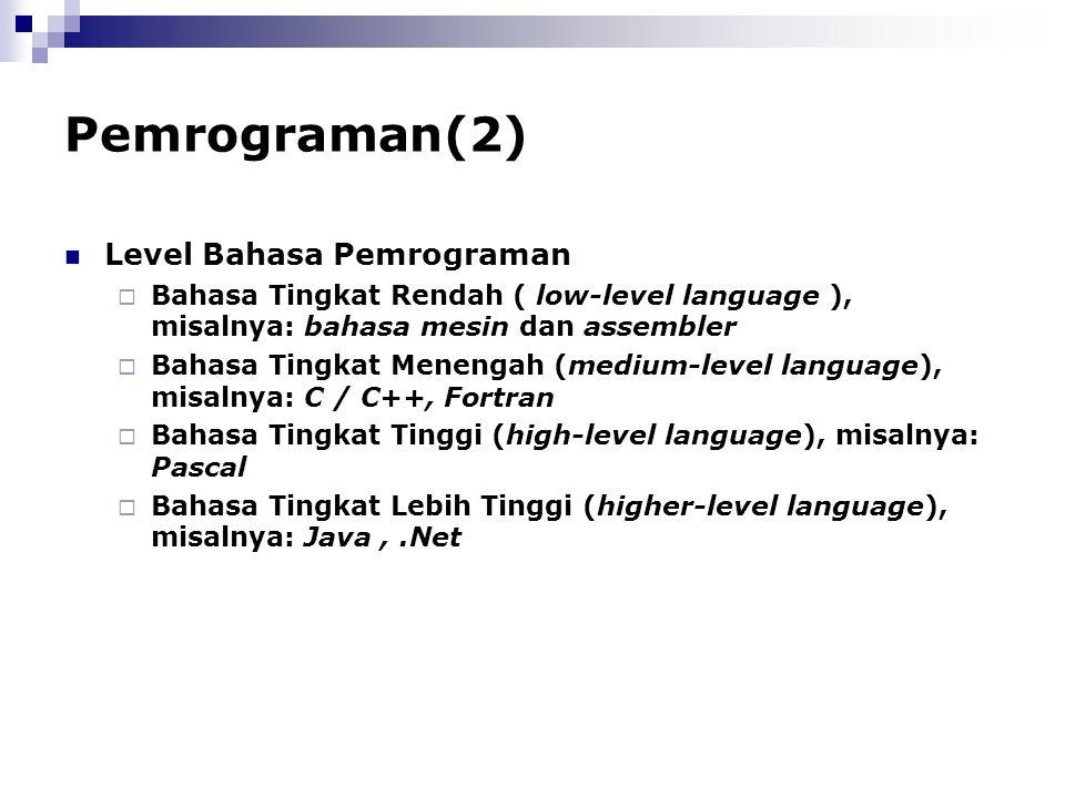Pemrograman(2) Level Bahasa Pemrograman