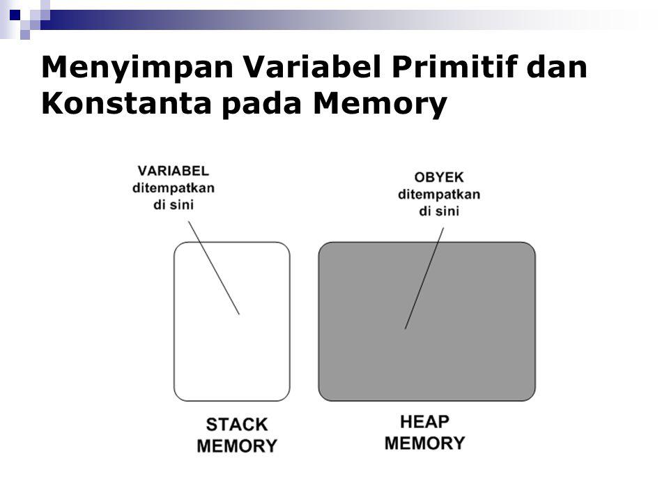 Menyimpan Variabel Primitif dan Konstanta pada Memory