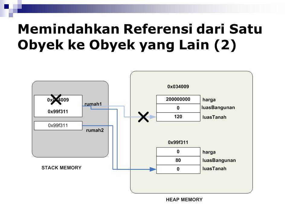 Memindahkan Referensi dari Satu Obyek ke Obyek yang Lain (2)