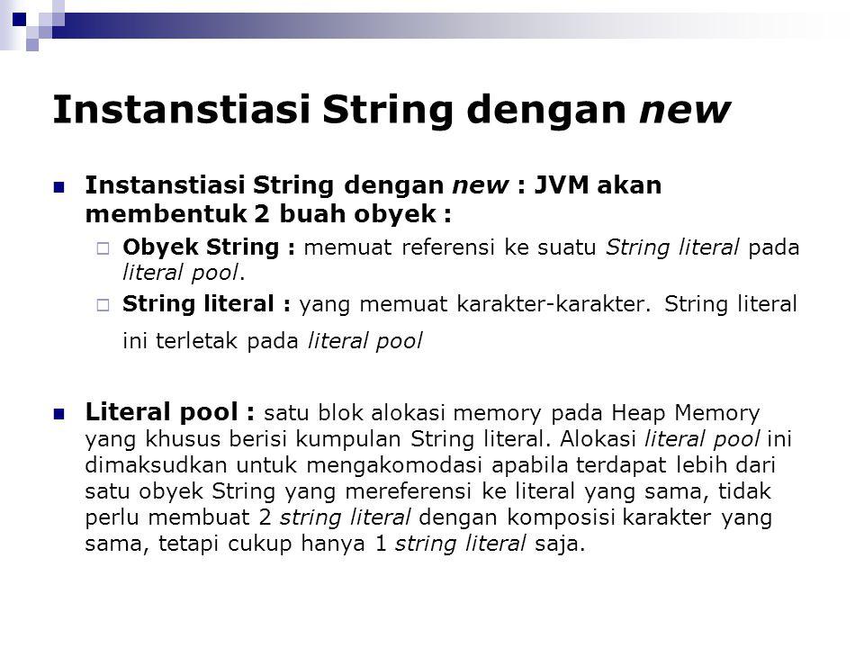 Instanstiasi String dengan new