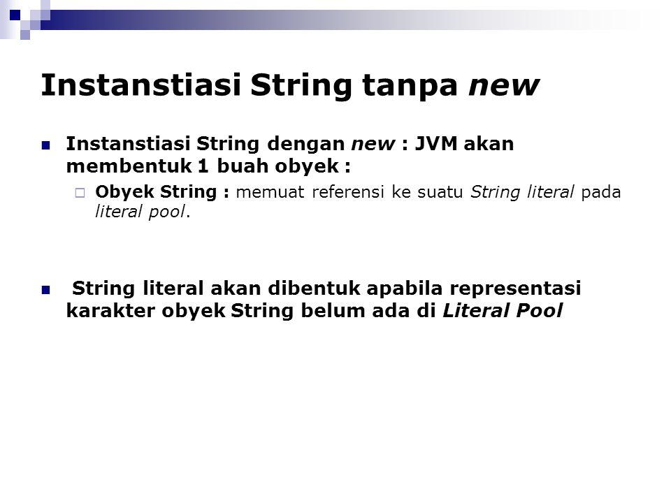 Instanstiasi String tanpa new