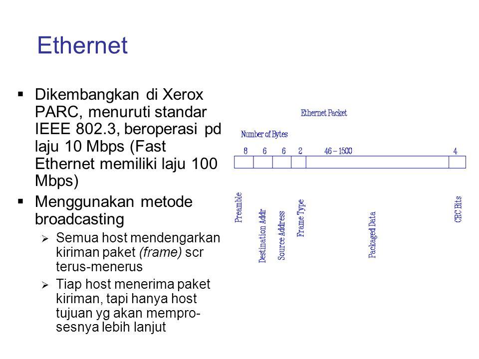 Ethernet Dikembangkan di Xerox PARC, menuruti standar IEEE 802.3, beroperasi pd laju 10 Mbps (Fast Ethernet memiliki laju 100 Mbps)