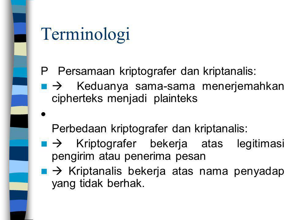 Terminologi P Persamaan kriptografer dan kriptanalis: