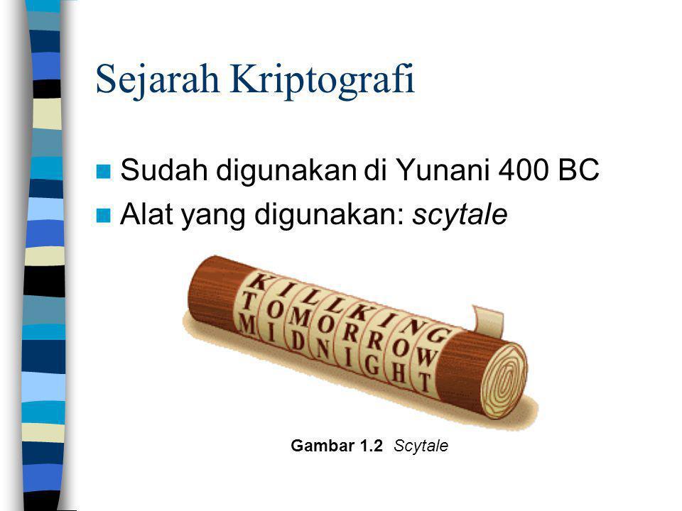 Sejarah Kriptografi Sudah digunakan di Yunani 400 BC