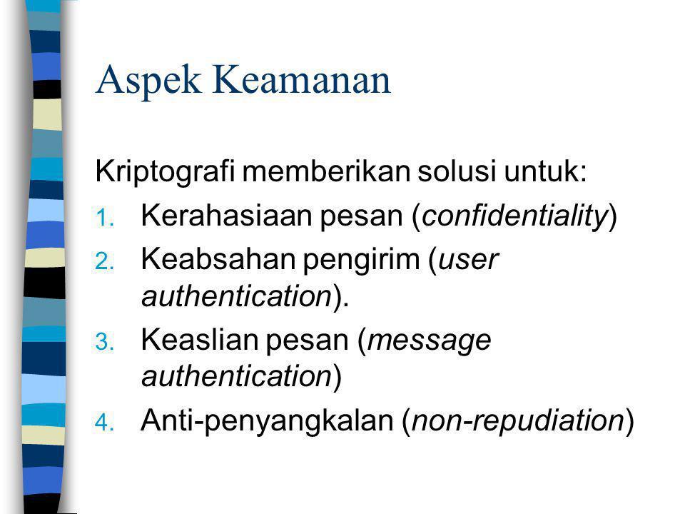 Aspek Keamanan Kriptografi memberikan solusi untuk: