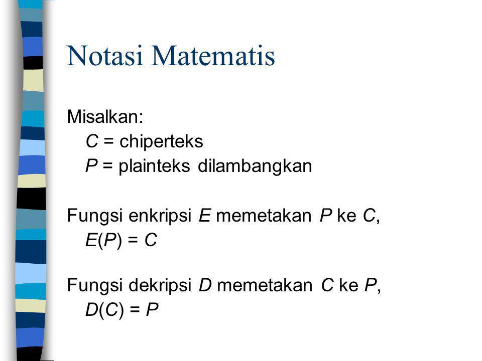 Notasi Matematis Misalkan: C = chiperteks P = plainteks dilambangkan