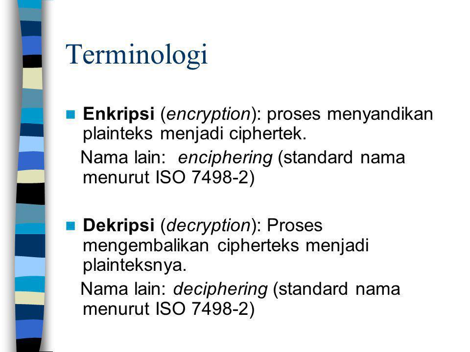 Terminologi Enkripsi (encryption): proses menyandikan plainteks menjadi ciphertek. Nama lain: enciphering (standard nama menurut ISO 7498-2)