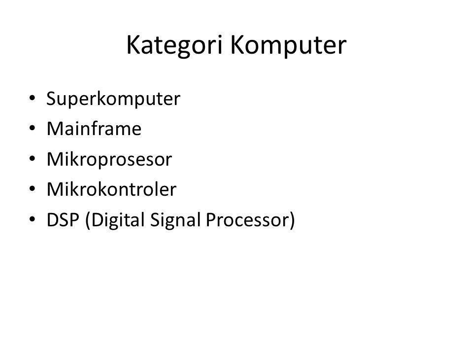 Kategori Komputer Superkomputer Mainframe Mikroprosesor Mikrokontroler