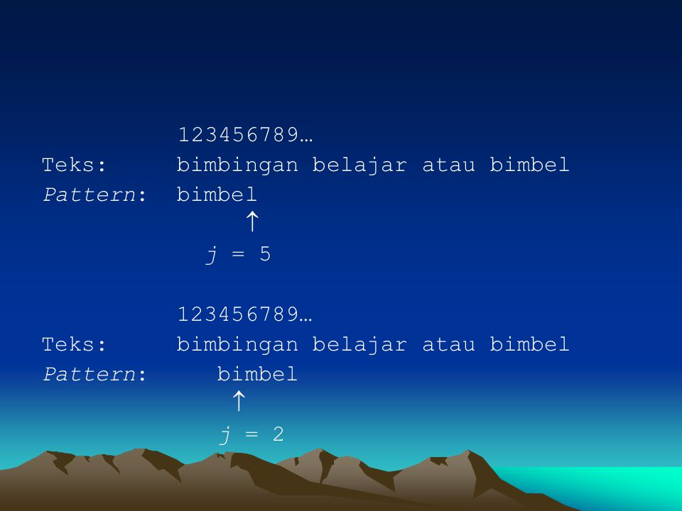 123456789… Teks: bimbingan belajar atau bimbel. Pattern: bimbel.  j = 5. Pattern: bimbel.