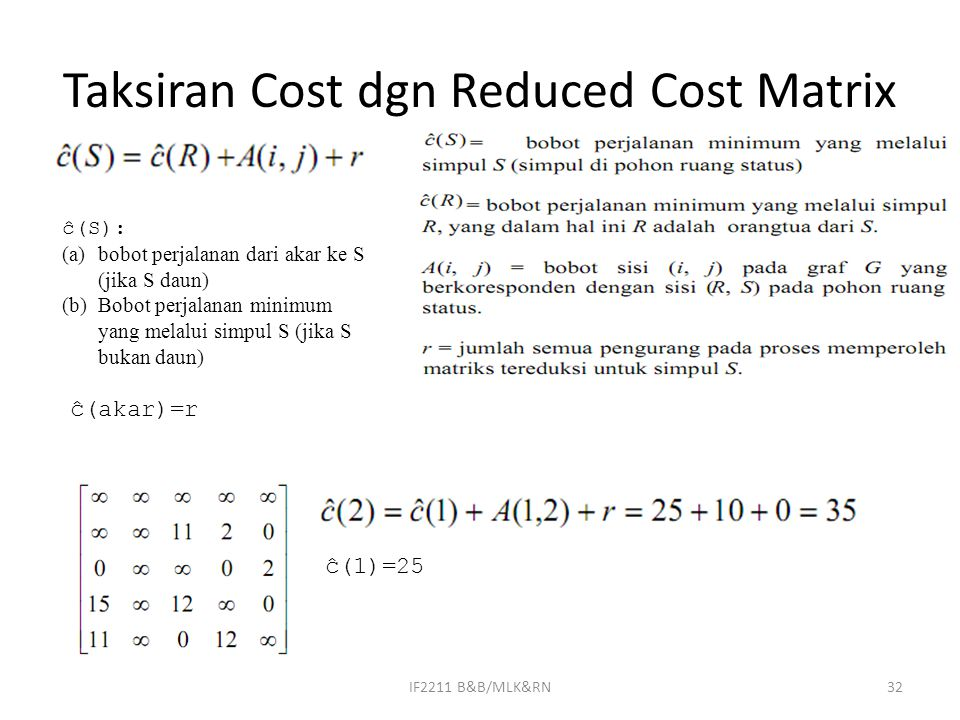 Taksiran Cost dgn Reduced Cost Matrix