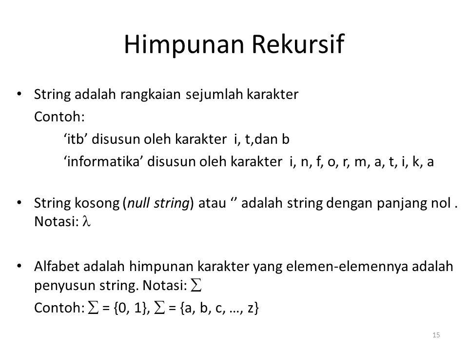 Himpunan Rekursif String adalah rangkaian sejumlah karakter Contoh: