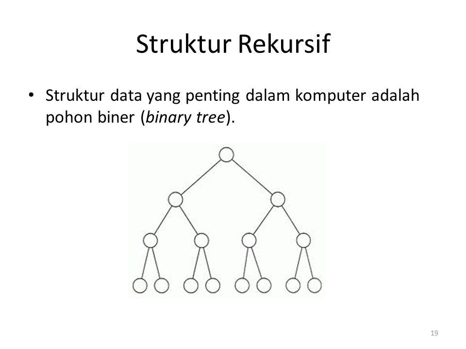 Struktur Rekursif Struktur data yang penting dalam komputer adalah pohon biner (binary tree).