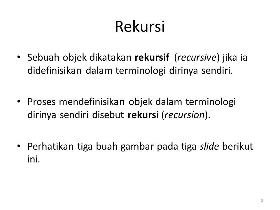 Rekursi Sebuah objek dikatakan rekursif (recursive) jika ia didefinisikan dalam terminologi dirinya sendiri.