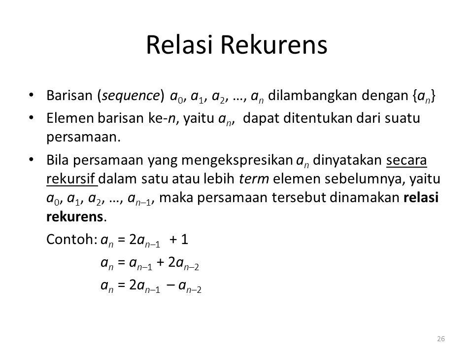Relasi Rekurens Barisan (sequence) a0, a1, a2, …, an dilambangkan dengan {an} Elemen barisan ke-n, yaitu an, dapat ditentukan dari suatu persamaan.