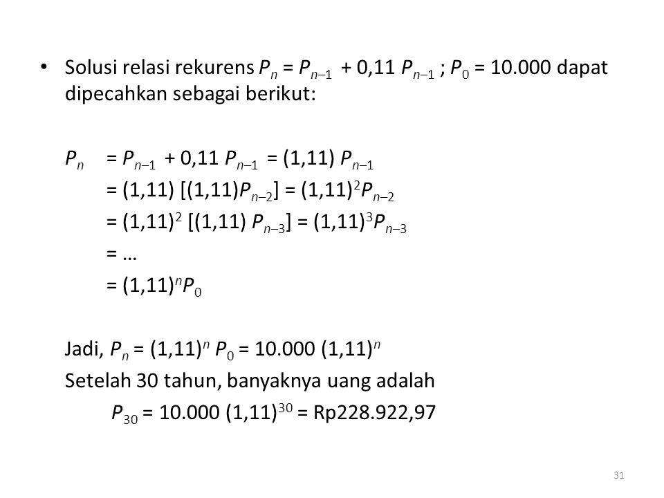 Solusi relasi rekurens Pn = Pn–1 + 0,11 Pn–1 ; P0 = 10