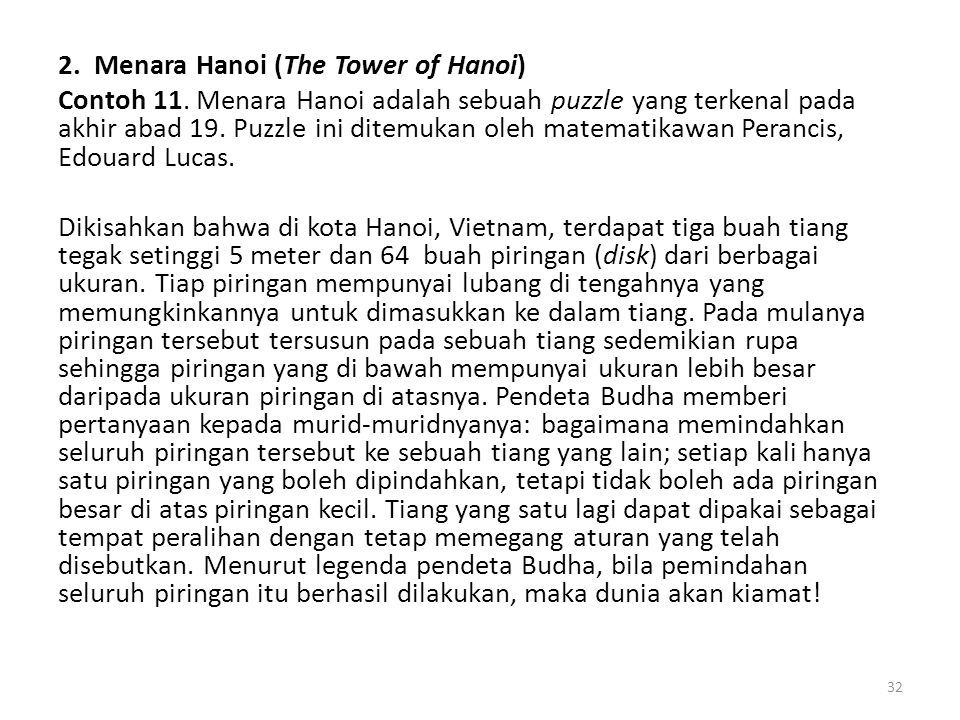 2. Menara Hanoi (The Tower of Hanoi) Contoh 11