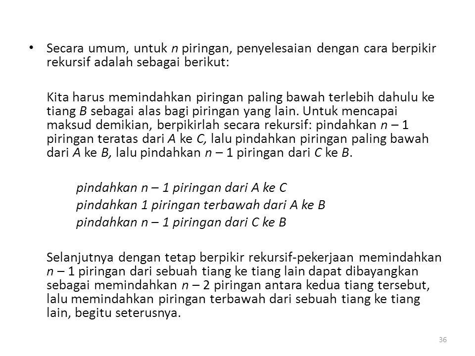 Secara umum, untuk n piringan, penyelesaian dengan cara berpikir rekursif adalah sebagai berikut: