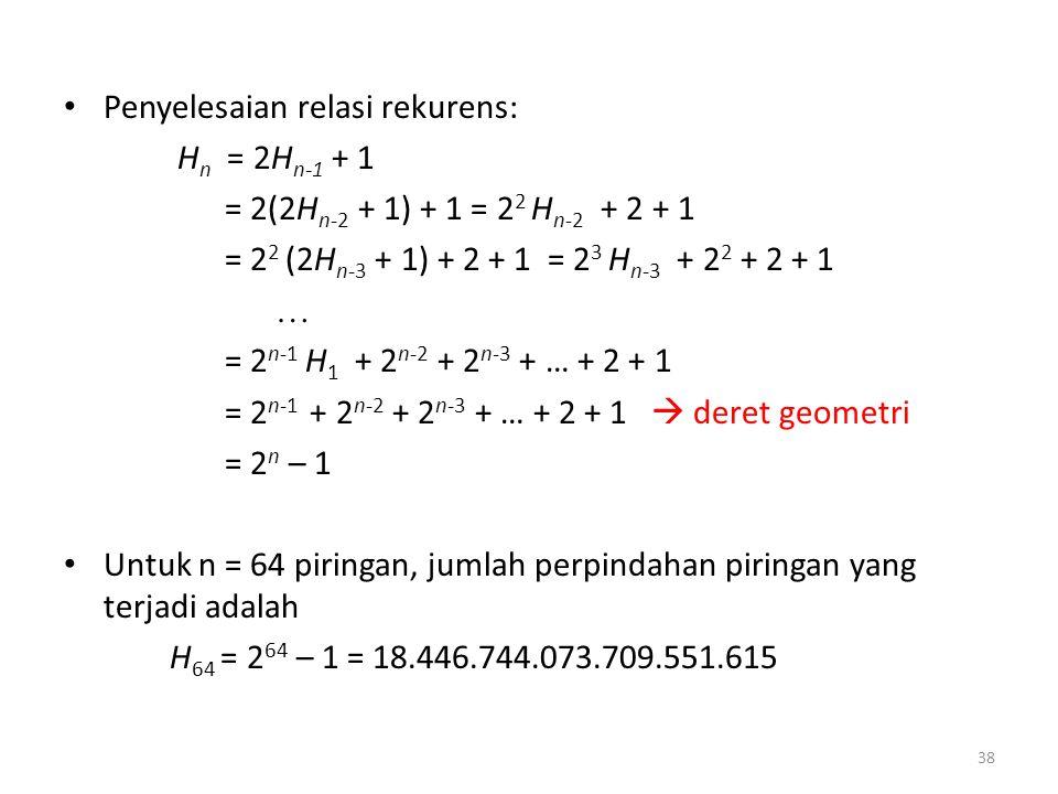 Penyelesaian relasi rekurens: