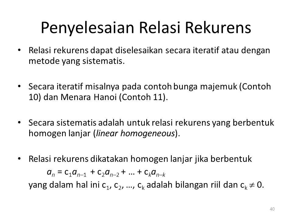 Penyelesaian Relasi Rekurens