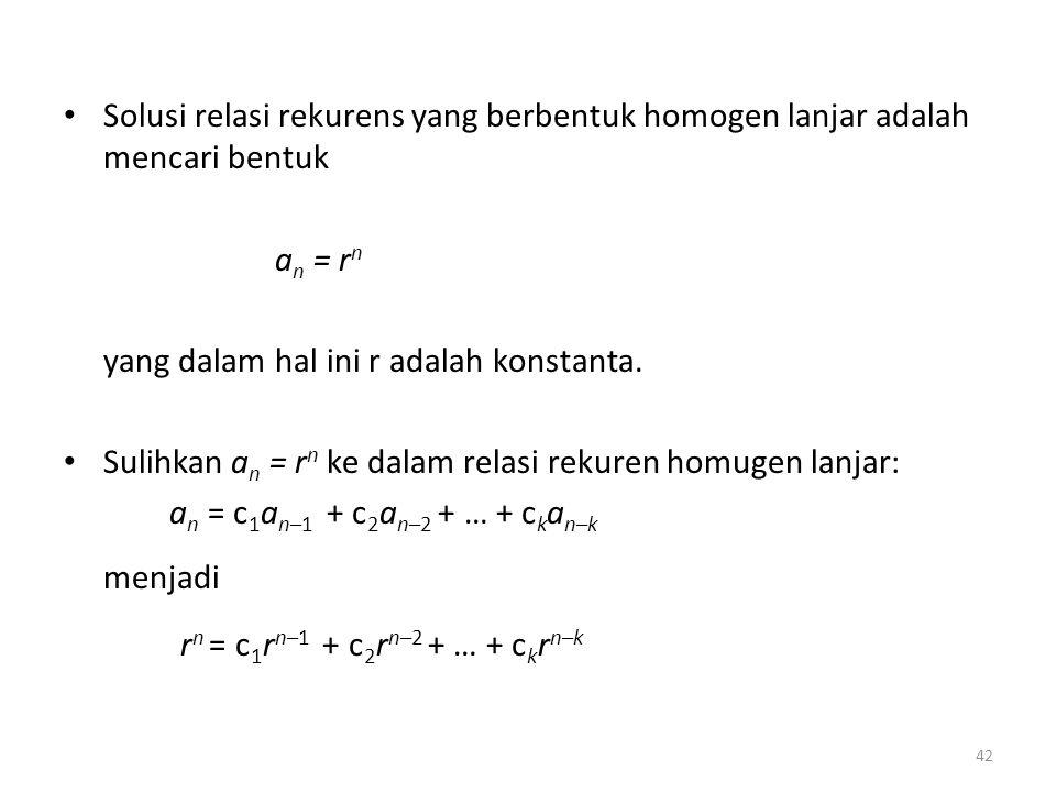 rn = c1rn–1 + c2rn–2 + … + ckrn–k