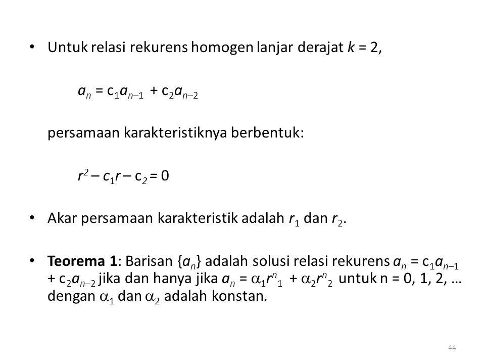 Untuk relasi rekurens homogen lanjar derajat k = 2,