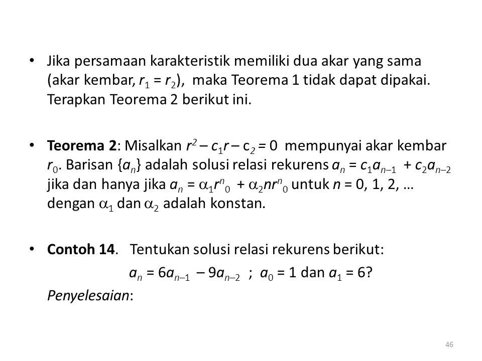 Jika persamaan karakteristik memiliki dua akar yang sama (akar kembar, r1 = r2), maka Teorema 1 tidak dapat dipakai. Terapkan Teorema 2 berikut ini.