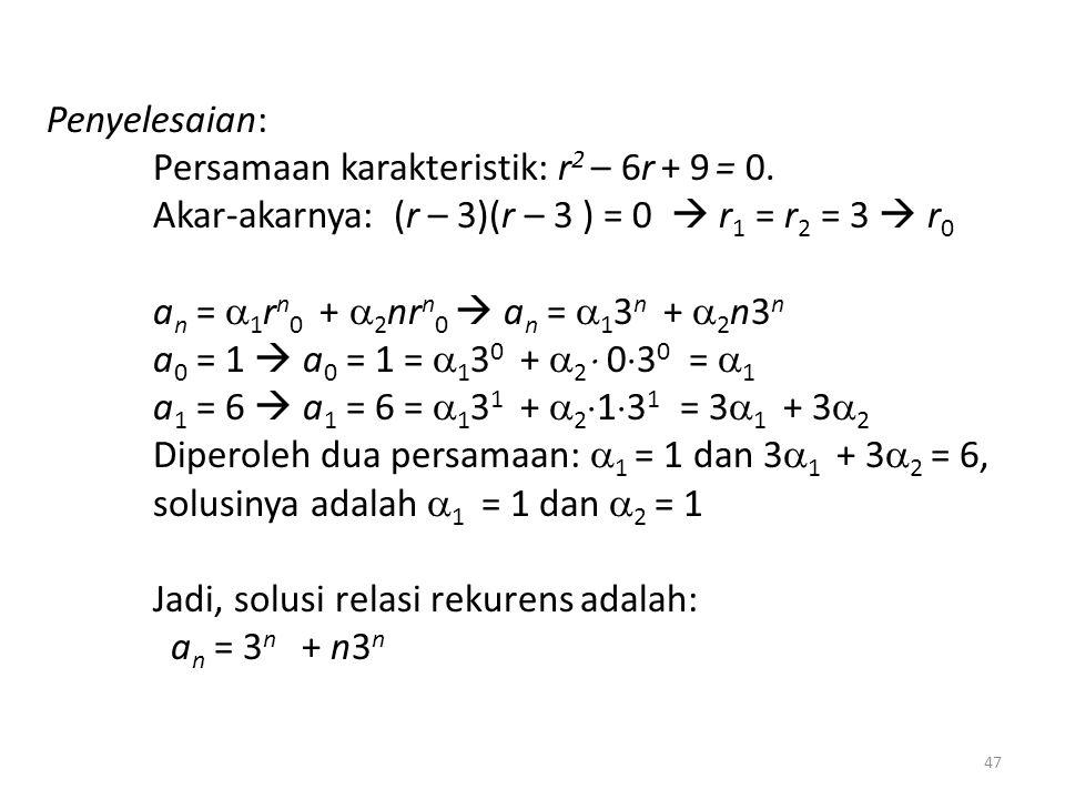 Penyelesaian: Persamaan karakteristik: r2 – 6r + 9 = 0. Akar-akarnya: (r – 3)(r – 3 ) = 0  r1 = r2 = 3  r0.