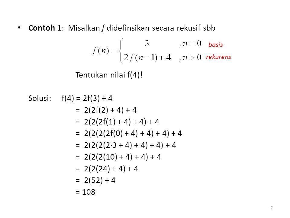 Contoh 1: Misalkan f didefinsikan secara rekusif sbb