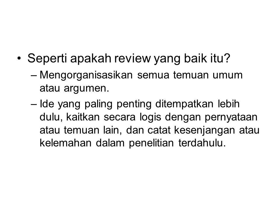 Seperti apakah review yang baik itu