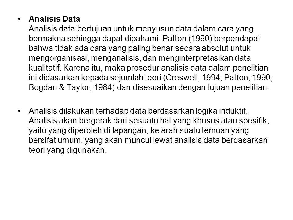 Analisis Data Analisis data bertujuan untuk menyusun data dalam cara yang bermakna sehingga dapat dipahami. Patton (1990) berpendapat bahwa tidak ada cara yang paling benar secara absolut untuk mengorganisasi, menganalisis, dan menginterpretasikan data kualitatif. Karena itu, maka prosedur analisis data dalam penelitian ini didasarkan kepada sejumlah teori (Creswell, 1994; Patton, 1990; Bogdan & Taylor, 1984) dan disesuaikan dengan tujuan penelitian.