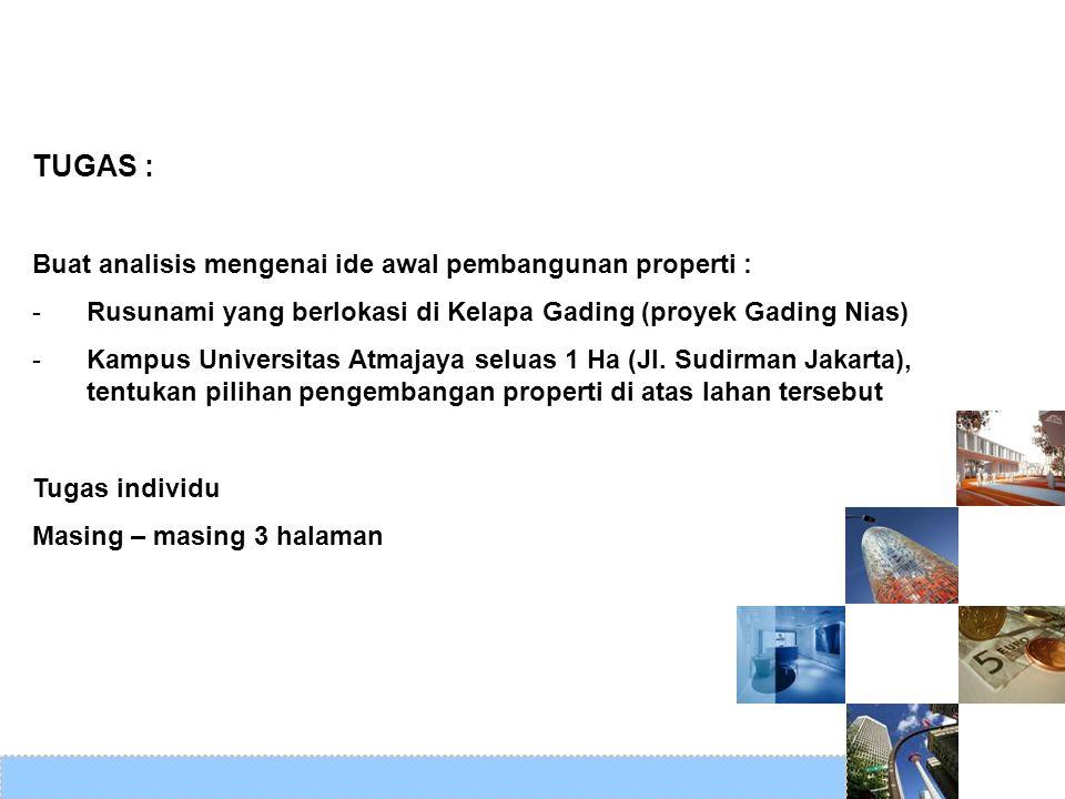 TUGAS : Buat analisis mengenai ide awal pembangunan properti :