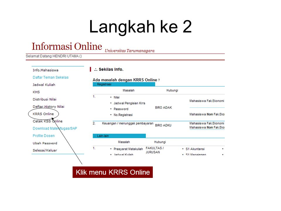 Langkah ke 2 Klik menu KRRS Online