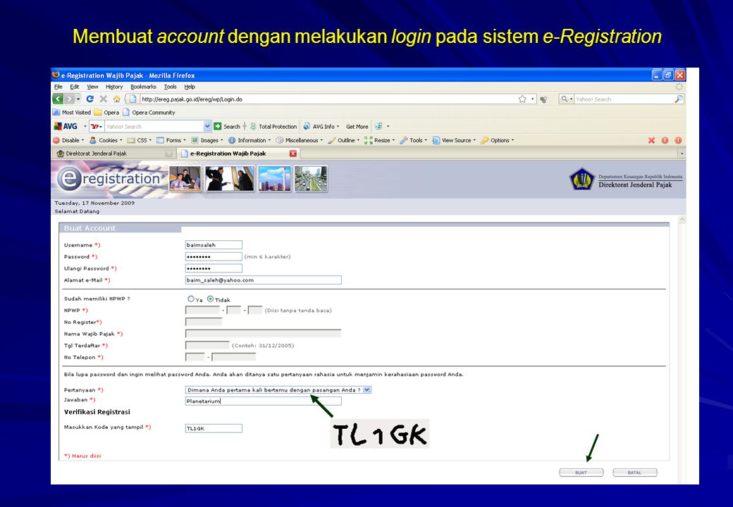 Membuat account dengan melakukan login pada sistem e-Registration