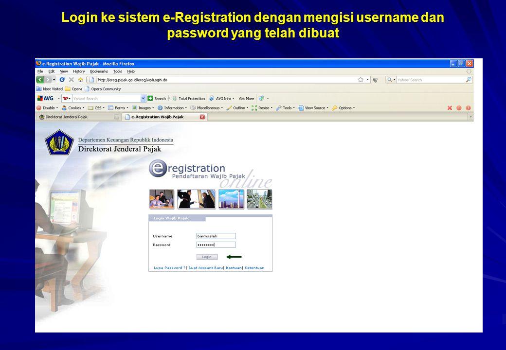 Login ke sistem e-Registration dengan mengisi username dan password yang telah dibuat