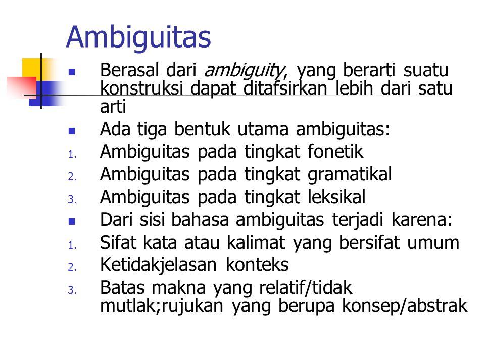 Ambiguitas Berasal dari ambiguity, yang berarti suatu konstruksi dapat ditafsirkan lebih dari satu arti.