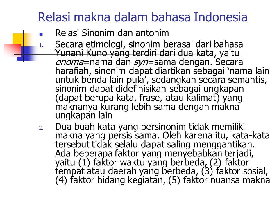 Relasi makna dalam bahasa Indonesia