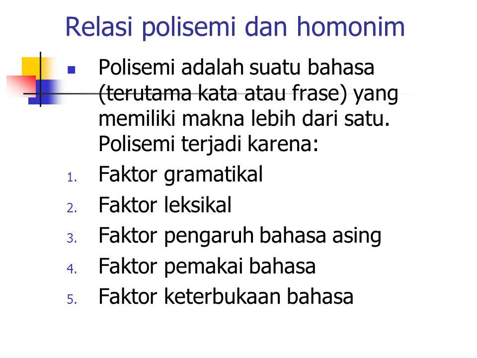 Relasi polisemi dan homonim