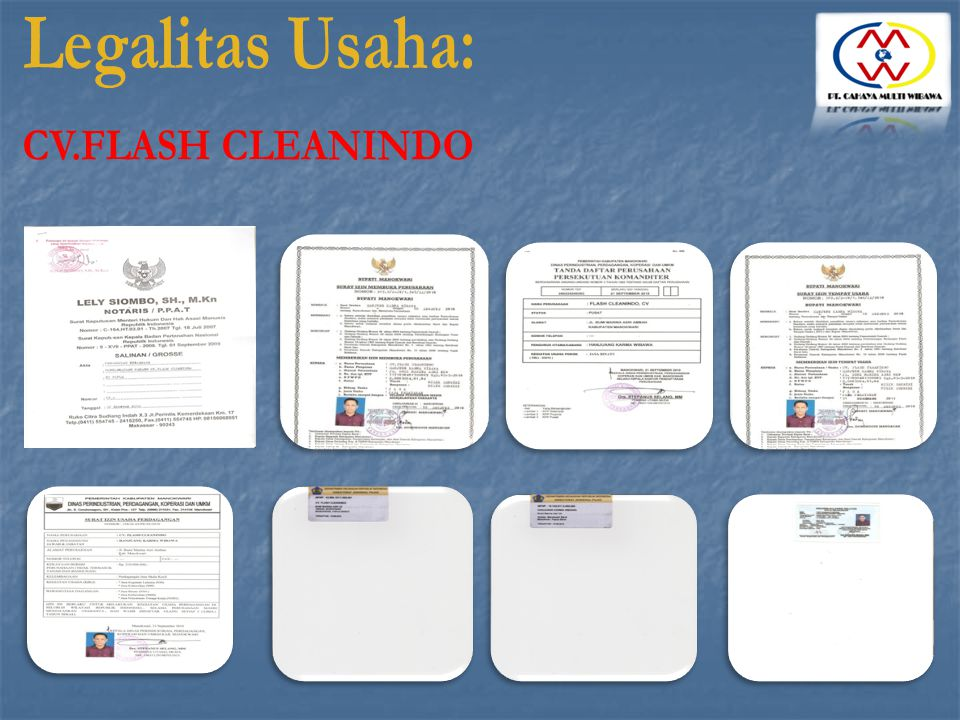 Legalitas Usaha: CV.FLASH CLEANINDO