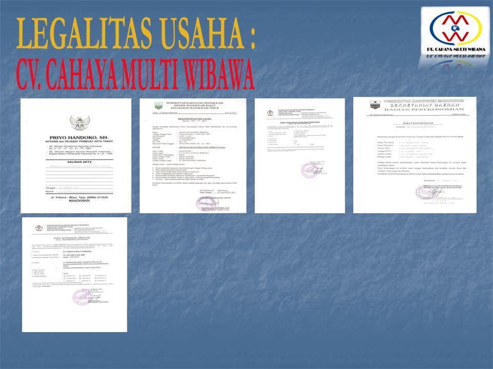 LEGALITAS USAHA : CV. CAHAYA MULTI WIBAWA
