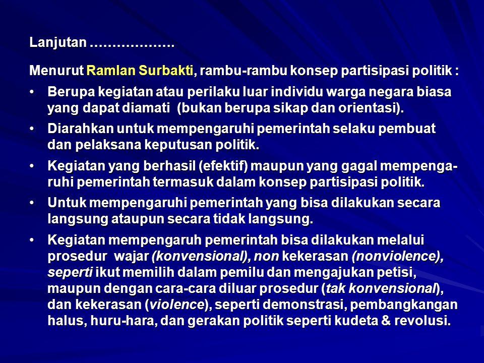 Lanjutan ………………. Menurut Ramlan Surbakti, rambu-rambu konsep partisipasi politik :