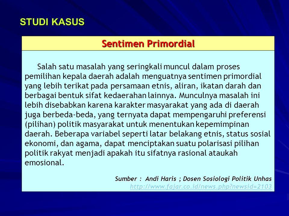 STUDI KASUS Sentimen Primordial