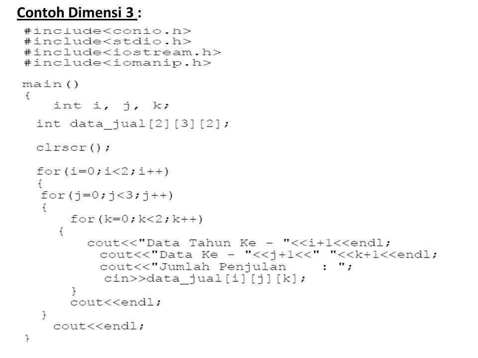 Contoh Dimensi 3 : Tipe Data : u/ menyatakan tipe data yg digunakan