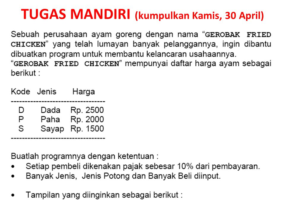 TUGAS MANDIRI (kumpulkan Kamis, 30 April)
