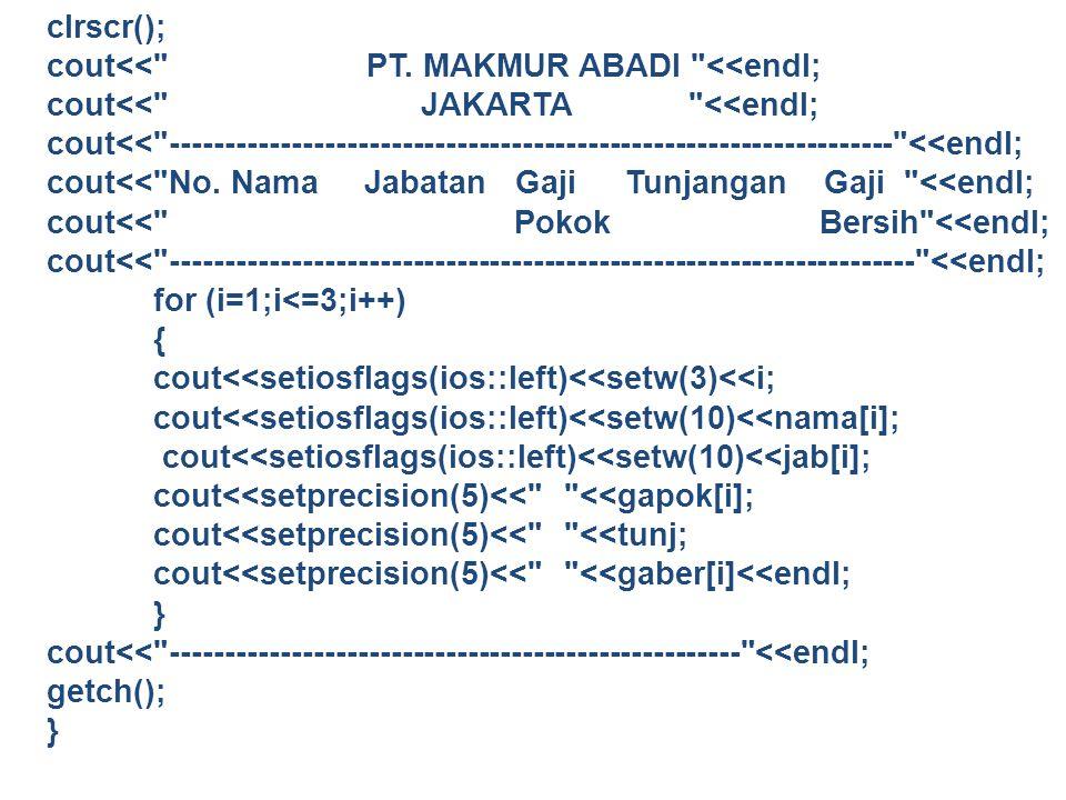 clrscr(); cout<< PT. MAKMUR ABADI <<endl; cout<< JAKARTA <<endl;